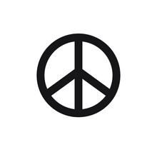 Vector Flat Black Peace Symbol Isolated On White Background