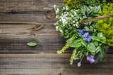 Fototapeta Tulipany - Assorted garden fresh herbs on wooden background