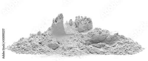 Fotografie, Obraz Pile of cement powder isolated on white background