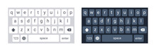 Smartphone Keyboard In Light And Dark Mode, Keypad Alphabet Buttons In Modern Flat Style, Mobile Phone Tab Concept For White And Black Color Text App, Vector Illustration.