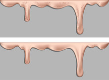 Liquid Or Flowing Pink Gold Paint. Dripping Liquid. Paint Flows. Current Paint, Stains. Current Drops. Current Inks. Vector Illustration.