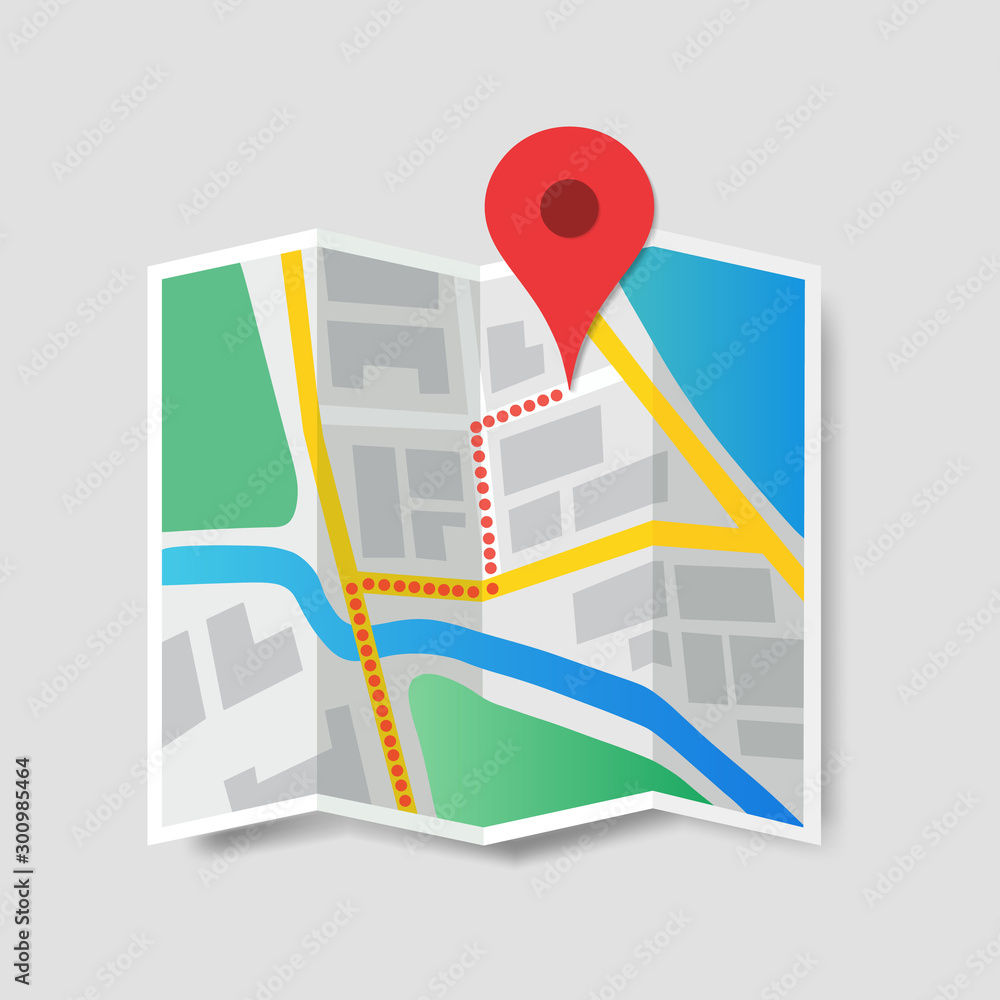 Fototapety, obrazy: Color isometric map of the area with a route route on it. Map vector icon. Navigation map, gps, direction, place, compass, contact, search concept. Web map icon. Vector illustration