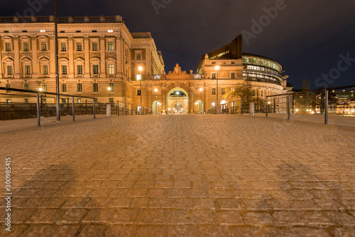 In de dag Theater Wide angle view of the Stockholm parliament house access bridge at night, Stockholm Sweden 2019