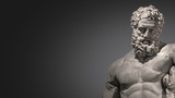 Banner with statue of powerful and handsome bearded Hercules at smooth gradient grey background and paste space, closeup, details