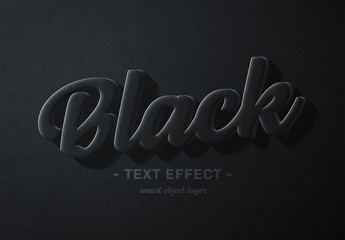 Fototapeta na wymiar Black 3D Text Effect