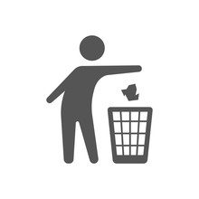 Throwing Trash Vector Icon On ...