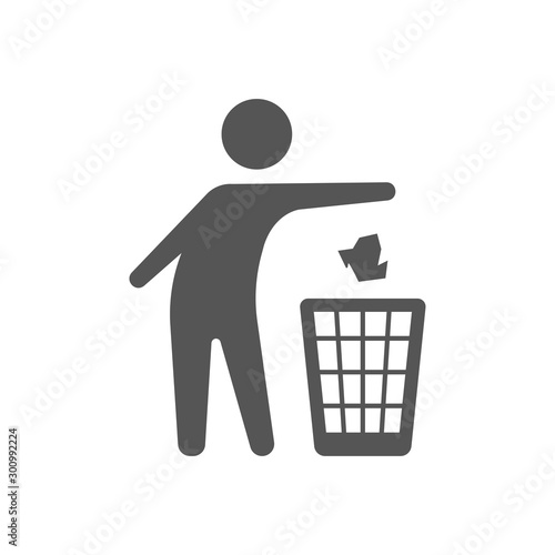Fototapety, obrazy: Throwing trash vector icon on white background. Flat vector throwing trash icon symbol sign from modern behavior collection for. Mobile concept and web apps. EPS 10