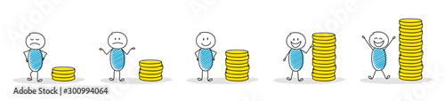 Fotografía Collection of cartoon people with coin stacks. Vector