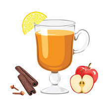 Apple Punch Isolated On White Background. Hot Traditional Alcoholic Drink In Glass Cup With Apple, Lemon, Cinnamon Sticks And Cloves. Vector Illustration Of Winter Drink In Cartoon Flat Style.