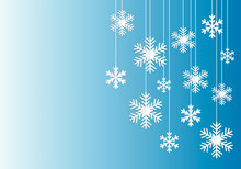 Christmas And Winter Background Template With Hanging White Paper Cut Snowflakes On Blue Gradient Background. Illustration Design With Copy Space Element For Greeting Card Or Christmas Sales Banners