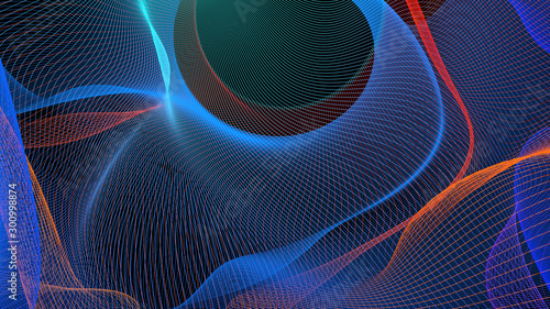 Photo sur Aluminium Fractal waves Spiral leaks Multicolored Light Abstract Background. Fantastic colored fractal lines bend on black.