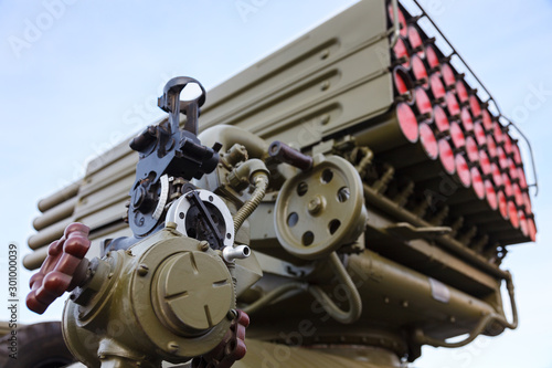 Part of the sighting mechanism of artillery gun. Close up Wallpaper Mural