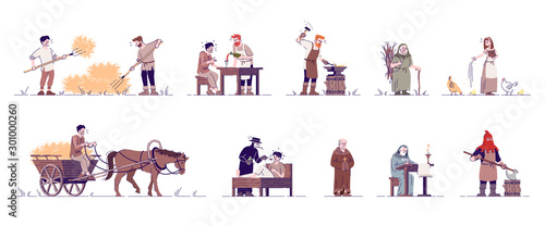 Obraz Medieval people flat vector illustrations set. Historical peasants, farmer, blacksmith, executioner, priest, doctor isolated cartoon characters with outline elements on white background - fototapety do salonu