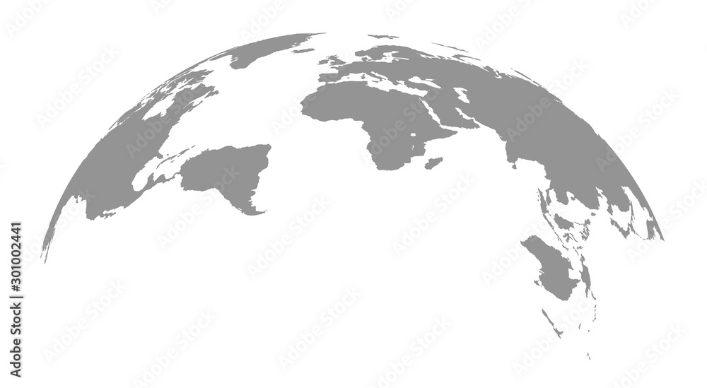 Fototapety, obrazy: World map globe on white background .Vector graphic in flat style.