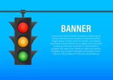 Traffic Lights Banner On Blue ...