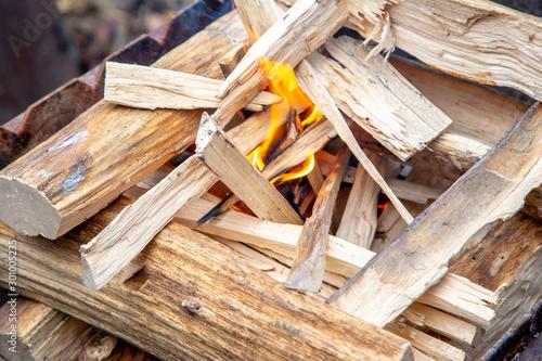 Foto auf AluDibond Brennholz-textur pile of wood