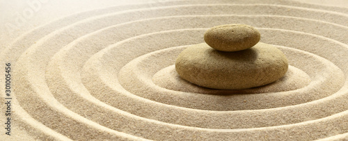 Stampa su Tela zen garden meditation stone background with stones and lines in sand for relaxat