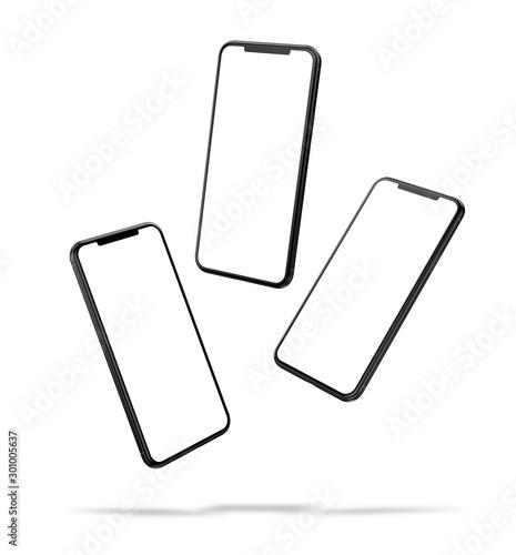 Fototapeta Set of smartphone frame less design blank screen in abstract flying positions - mockup template obraz
