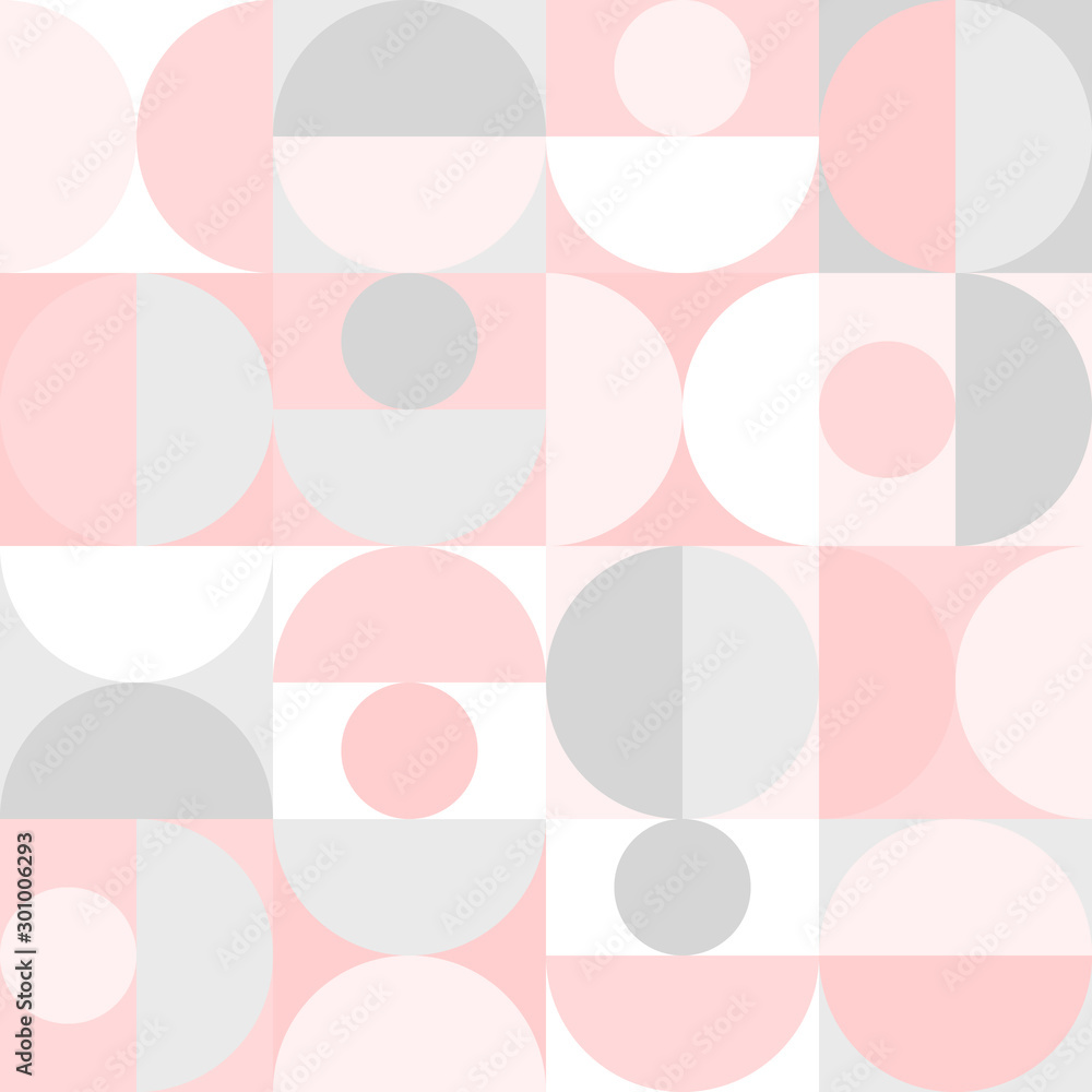 Vector seamless geometric pattern in scandinavian style with circles and semicircles