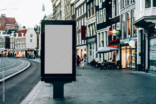 Fotomural  Clear Billboard on city street with blank copy space screen for advertising or p