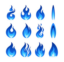 Gas Fire Flame, Vector Illustration In Flat Style