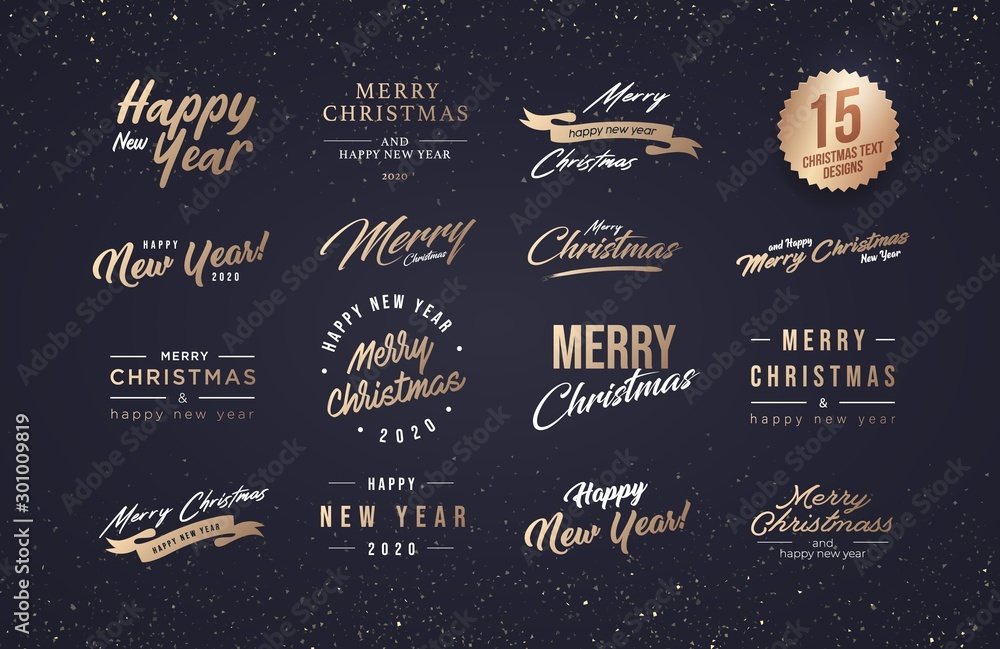 Fototapeta Merry Christmas and Happy New Year 2020 Typography set. Collection of emblems, text design. Usable for banners, greeting cards, gifts etc.