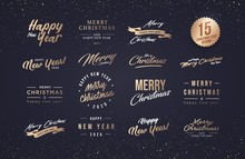 Merry Christmas And Happy New Year 2020 Typography Set. Collection Of Emblems, Text Design. Usable For Banners, Greeting Cards, Gifts Etc.
