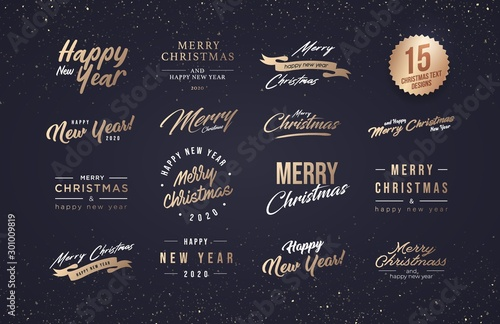 Cuadros en Lienzo Merry Christmas and Happy New Year 2020 Typography set