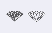 Diamond Outline Icon . Vector...