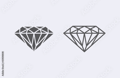 Leinwand Poster Diamond outline icon . Vector illustration