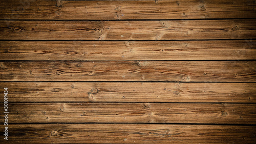 Obraz old brown rustic dark grunge wooden texture - wood background banner - fototapety do salonu