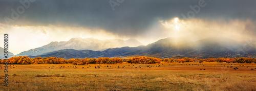 Autumn panorama in Heber Valley, Utah, USA. Canvas