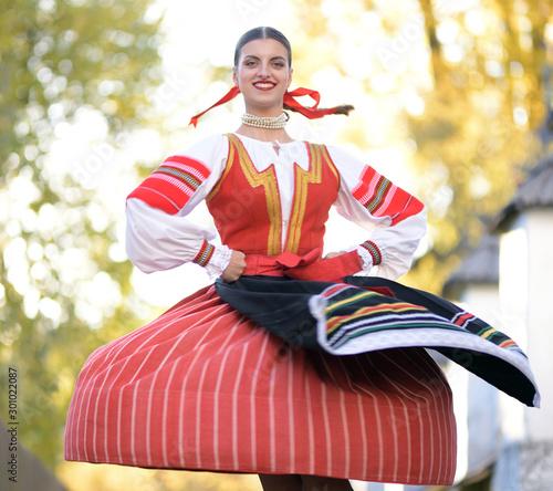 Slovak folklore. Slovak folklore girl. Canvas Print