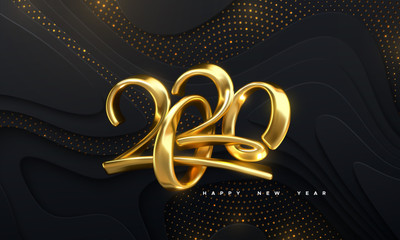 Happy New 2020 Year. Holiday vector illustration of golden calligraphic numbers 2020. Realistic 3d sign. Festive poster or banner design. Modern lettering on wavy papercut background with glitters.