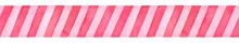 Festive Seamless Border With Pink Stripe Pattern. Hand Drawn Watercolour Graphic Illustration On White Backdrop, Cutout Clip Art Element For Creative Design, Textile, Print, Greeting Card, Invitation.