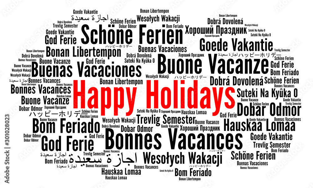 Fototapeta Happy holidays word cloud in different languages