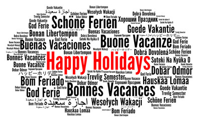 Happy holidays word cloud i...