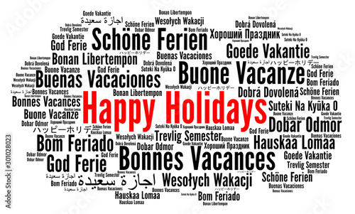 Valokuvatapetti Happy holidays word cloud in different languages