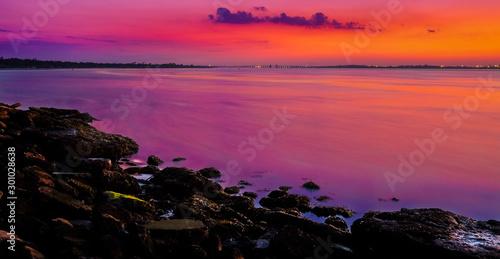 Foto op Canvas Zwart Sunset