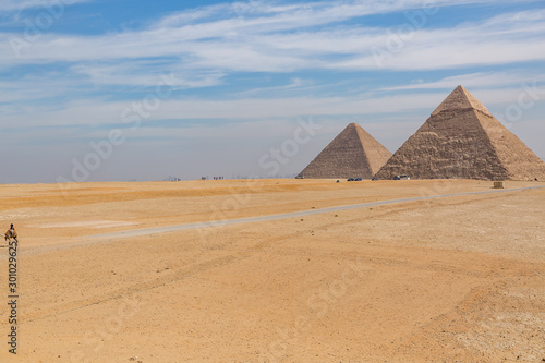 The ancient Egyptian Pyramid of Khufu with ruins, tombs and monuments in Giza, Cairo, Egypt #301029625