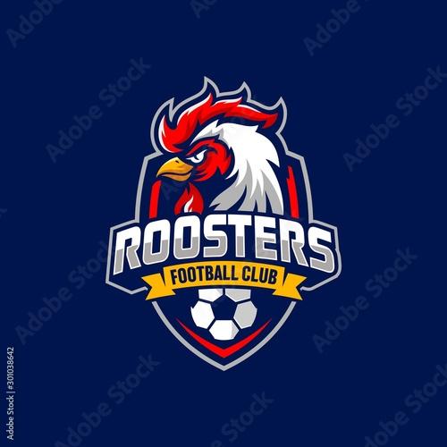 Rooster mascot sport logo design Vector illustration Fototapet