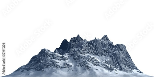 Fotografía  Snowy mountains Isolate on white background 3d illustration