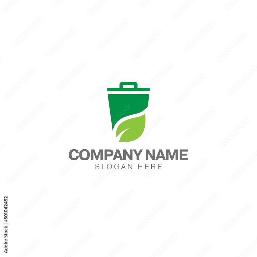 Fototapeta Green trash can logo, trash can and green leaf vector design template