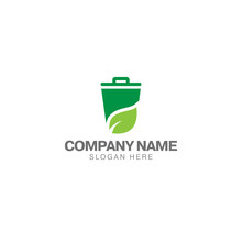 Green Trash Can Logo, Trash Can And Green Leaf Vector Design Template