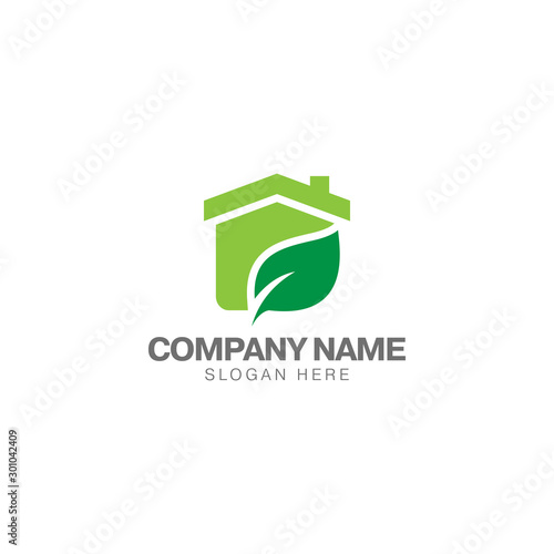 Fototapety, obrazy: Green house logo, home and green leaf vector design template