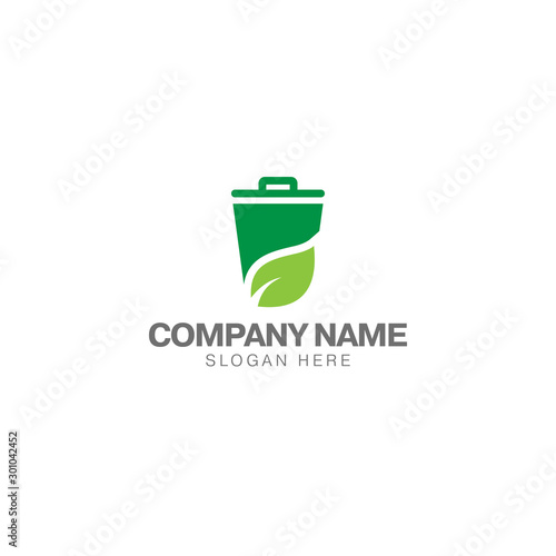 Fototapety, obrazy: Green trash can logo, trash can and green leaf vector design template