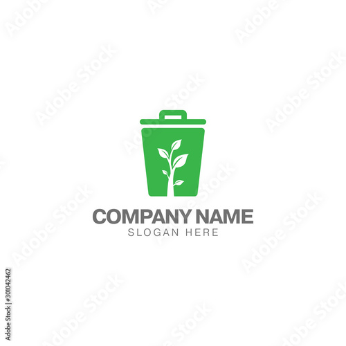 Fototapety, obrazy: Green trash can logo, trash can and green plant vector design template