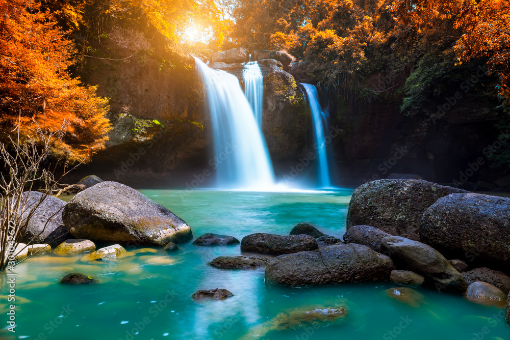 Fototapety, obrazy: The amazing colorful waterfall in autumn forest blue water and colorful rain forest.