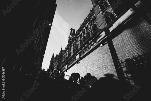 Black and white images of London City street