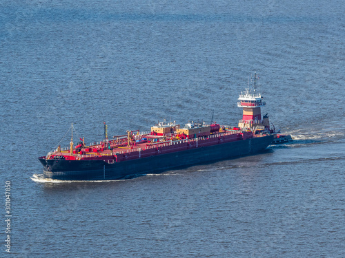 Fotografía Aerial photo of the ship on the Hudson River